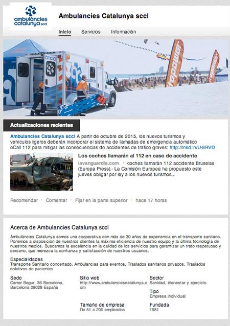 Perfil Linkedin Ambulàncies Catalunya