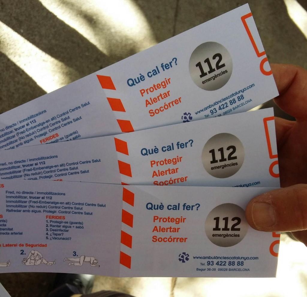 tarjetas emergencias ambulàncies catalunya